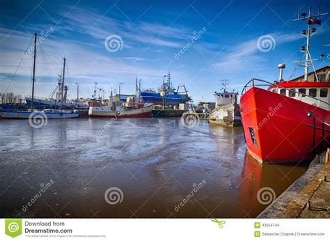 viking boats poland darlowo harbour in winter stock photo image 43554744