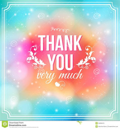 Thank You Letter Background thank you card on soft colorful background stock vector