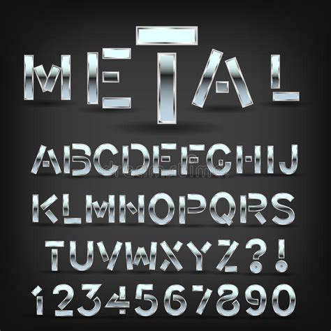 metal pattern font metal font with shadow on black background chrome