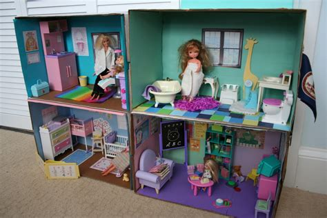 pink and green mama diy barbie cardboard box house