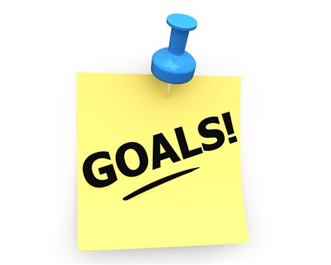 3d graphic with goals text on sticky note stock photo