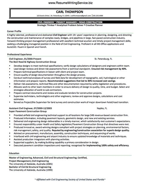 civil engineer resume use civil engineer resume sle here resume writing service