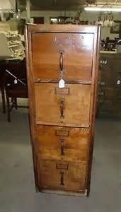 Antique 4 drawer file cabinet wood mahogany finish heavy built