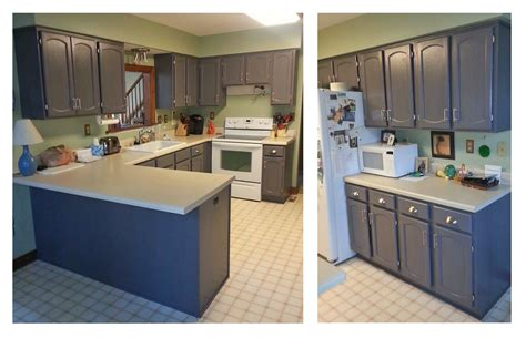 kitchen cabinets in driftwood gray milk paint topped with