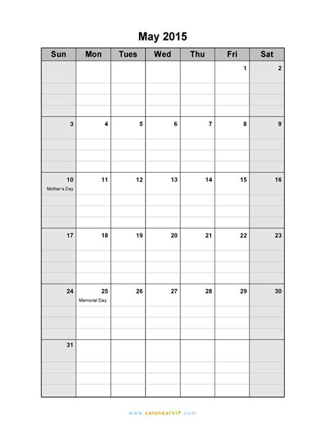 Blank May 2015 Calendar 7 Best Images Of Printable Blank 8 X 11 Calendar Grid