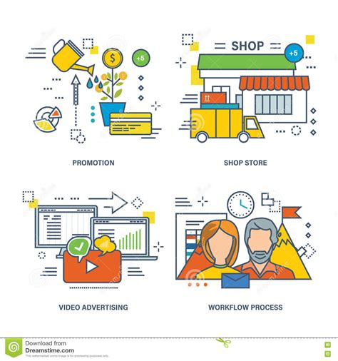 e commerce workflow concept of advertising e commerce promotion