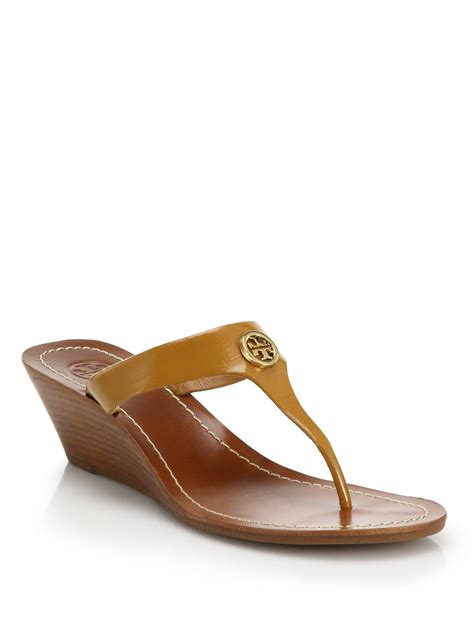 Leather Wedges 2 burch cameron logo leather wedge sandals in brown lyst