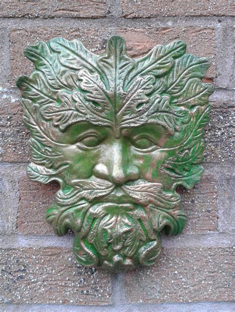Classic Greenman Garden Wall Plaques Hand Cast Painted Garden Wall Plaque
