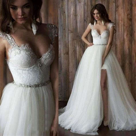 detachable skirt wedding dress two piece backless