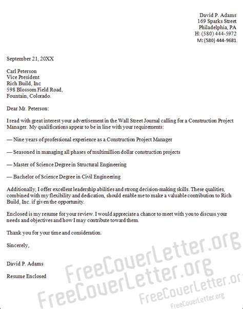 Construction Manager Cover Letter 8 Construction Cover Letter Basic Appication Letter