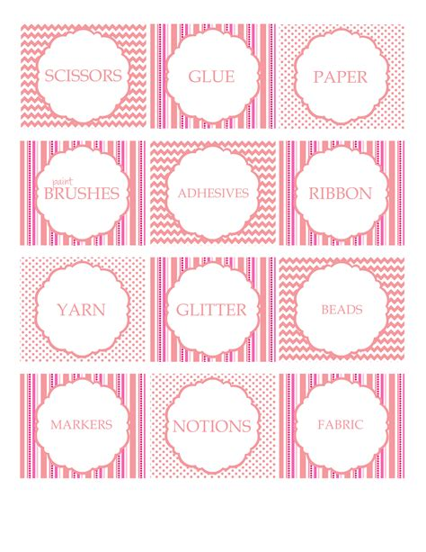 free printable crafts for free printable craft supply labels craft storage ideas