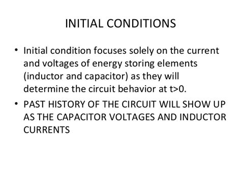 capacitor and inductor behavior initial conditions of resistor inductor capacitor