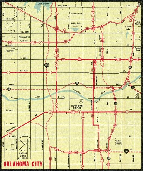road map of oklahoma interstate guide interstate 240 oklahoma