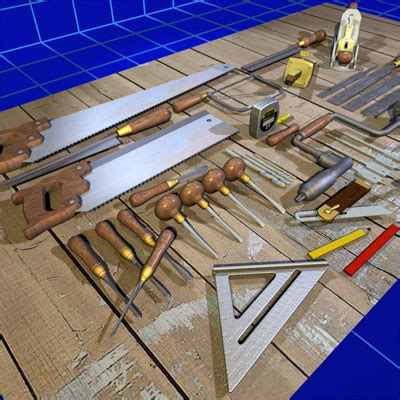 model woodworking tools 3d model wood working tool set