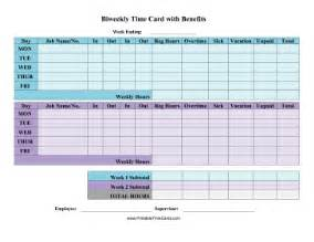 Bi Weekly Time Card Template by Biweekly Time Card With Benefits Time Card