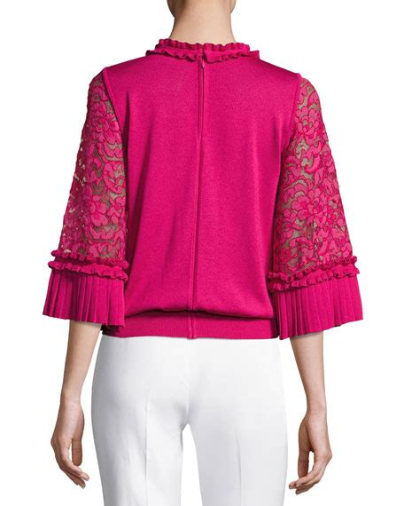 Ruffle Trim Sleeve Knit Top andrew gn ruffle silk knit top with lace sleeves fuchsia