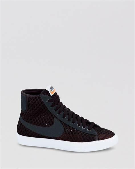nike black sneakers womens lyst nike sneakers lace up high top sneakers womens