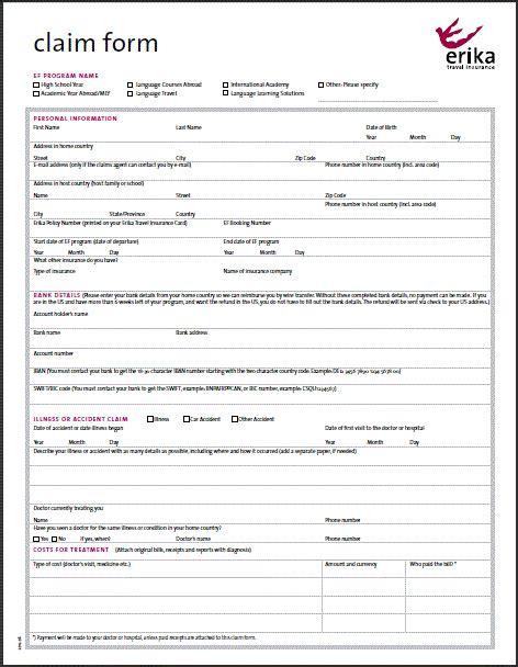 Auto Insurance Claim Form by Erika Travel Insurance Claim Forms Au Pair Pinterest