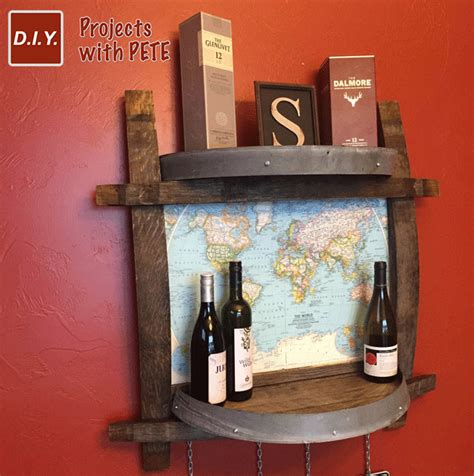 wine barrel shelf side bar with push pin travel map