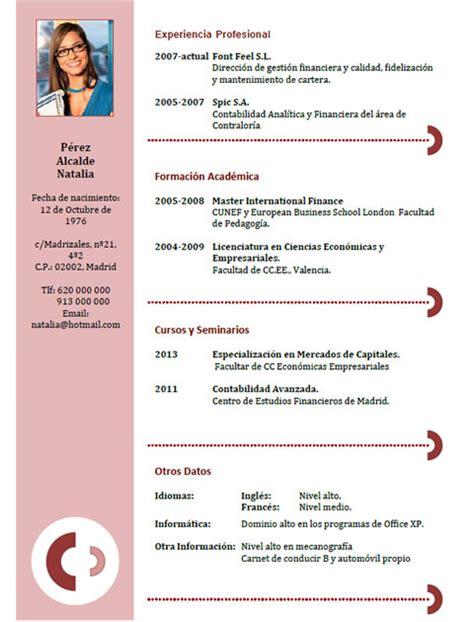 Plantillas De Curriculum En Ingles Word ejemplos y plantillas de curriculum en ingl 233 s trabajar en inglaterra cvexpres