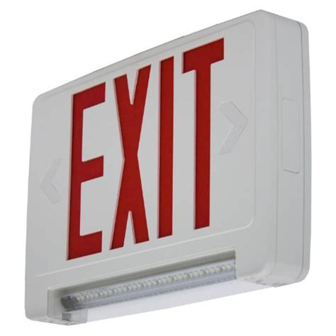 combination emergency exit sign and light with battery backup 120v led red exit sign emergency led lightpipe combo with