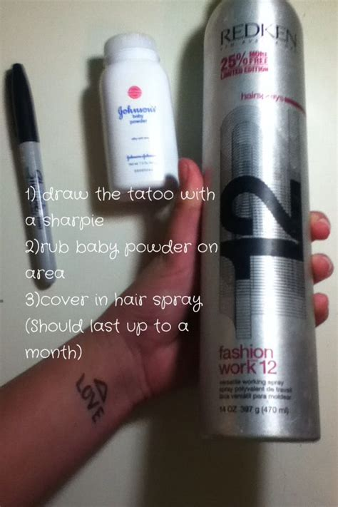 temporary tattoo with pen and hairspray fake tatoo very important make sure u spray the