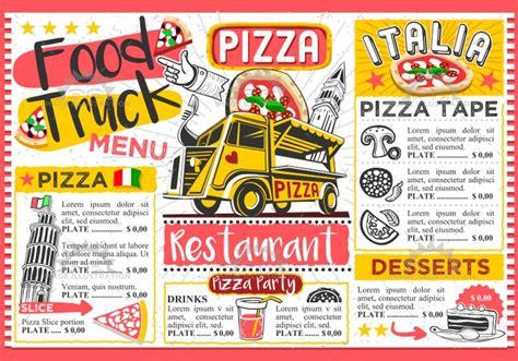 coq a doodle do food truck menu fast food truck menu food pizza festival vector