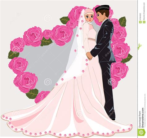 design foto couple muslim wedding cartoon stock vector illustration of
