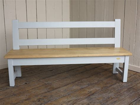 waxed plank top kitchen bench with back rest