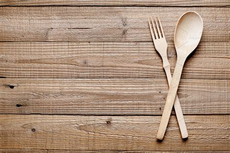 Wooden Fork And Spoon Food Drink Photos Creative Market Wooden Spatula Template