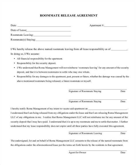 9 Release Agreements Free Downloadable Sles Exles And Formats Sle Templates Roommate Release Agreement Template