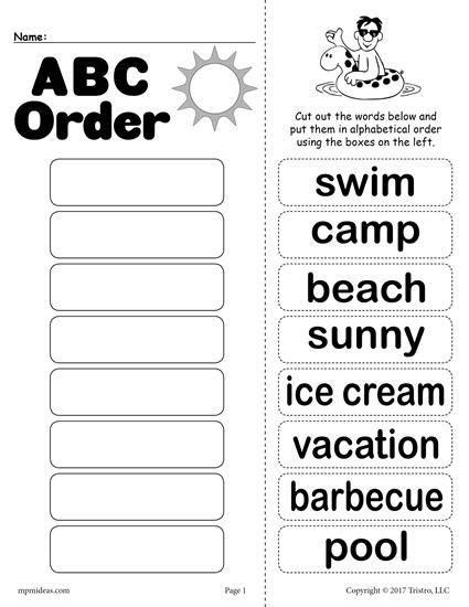printable abc order activities free summer alphabetical order worksheet alphabetical