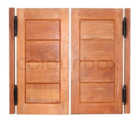 wooden swinging doors double swing wood door stock photo colourbox