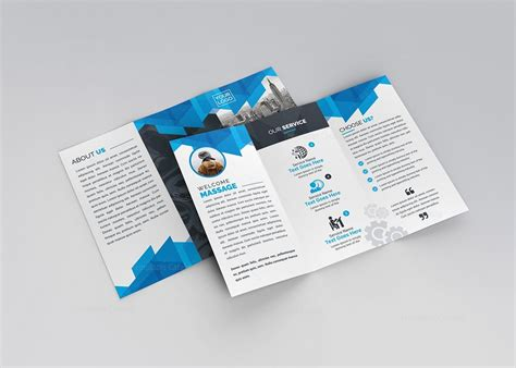Tri Fold Brochures Templates by Blue Stylish Tri Fold Brochure Template 000734 Template