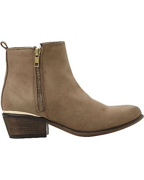steve madden side zip leather ankle boots in beige