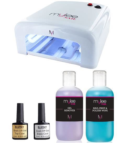 gel top coat no uv light mylee manicure nail kit uv l 36w top base coat prep