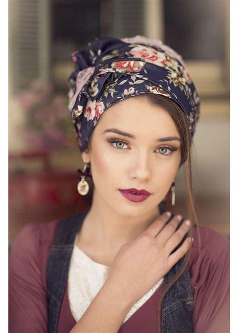 Headband Bayi Flora Denim gorgeous floral turban turban hats tichels fashion turbans ready to wear turbans