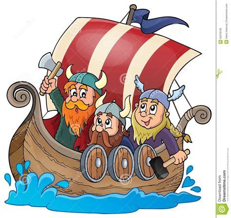cartoon viking boat images viking ship theme image 1 stock vector illustration of