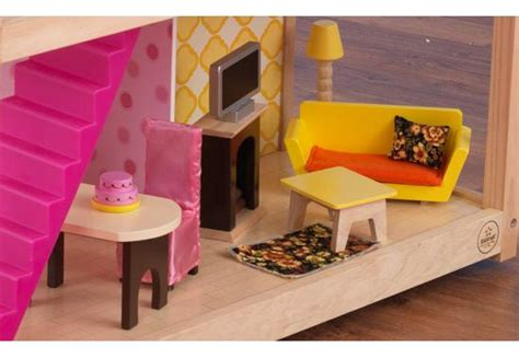 doll house with 50 pieces kidkraft so chic doll s house with 50 pieces of furniture toys and games