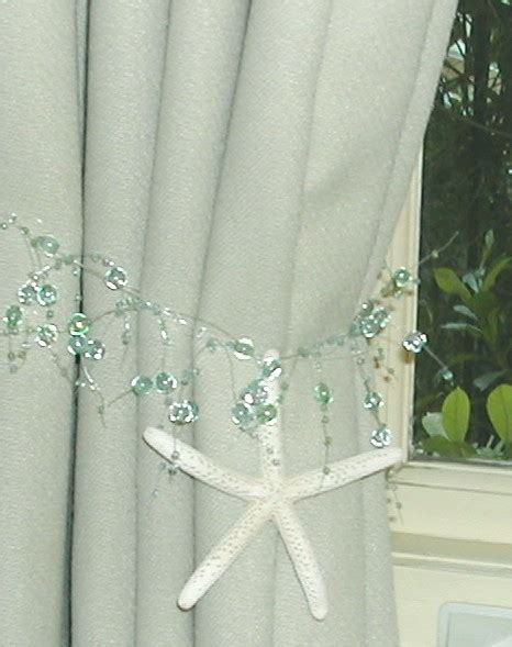 beachy curtains beach decor 2 curtain tiebacks with natural starfish