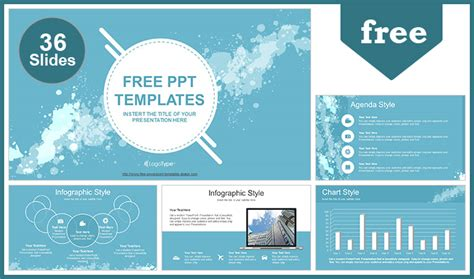 Water Colored Splashes Powerpoint Template Powerpoint Templates For Website Presentation