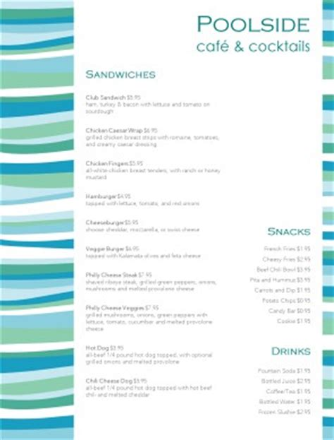 archive poolside menu template archive