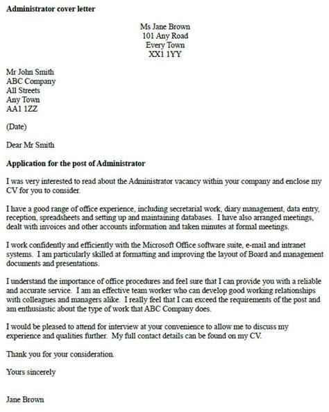 cover letter exle for administration administrator cover letter exle cover letters and cv