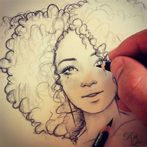 drawing curly hair 1 curly haired girl drawing drawings image 2555207
