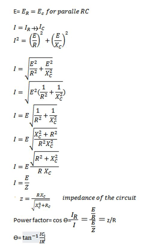 capacitor formula in rc circuit parallel rc circuit formula and phasor diagram engineermaths power system consulting