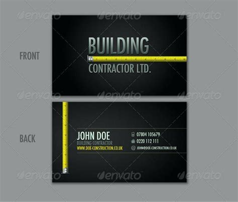 builders business cards designs templates free printable construction business cards images card