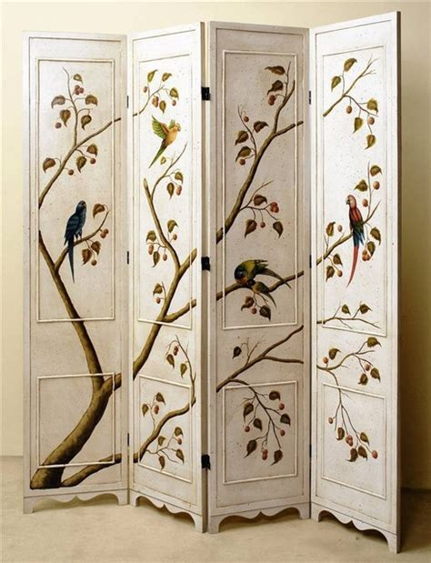 Folding Screen Room Divider Four Panel Folding Screen In Antique White Finish W Painted Birds Tree Traditional