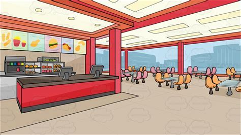 Inside A Fast Food Chain Restaurant Background Cartoon