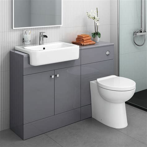 Bathroom Sink And Toilet Vanity Unit Modern Bathroom Toilet And Furniture Storage Vanity Unit Sink Basin Grey 1160 Mm Ebay