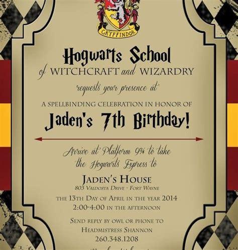 Harry Potter Birthday Invitation Cards